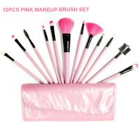 Professional 12 pcs Face Crae Makeup Brush Set with Leather Bag Pink Make Up Brushes pincel maquillaje maquiagem Maquillage
