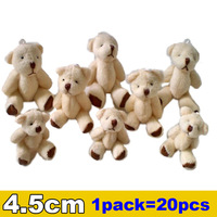 1pack/20pcs 4.5cm Mini Joint Bear Plush toys Wedding Couple gifts Children's Cartoon toys Christmas Gifts Wholesale Hot sales