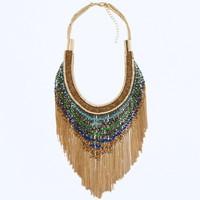 JC100 2014 Fashion Design Women Jewel ZA Gold Beaded Fringe Necklace Handmade Party Oversize BOHO Choker No Min Order Best Price