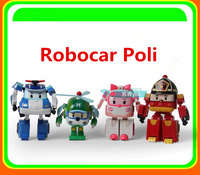 Free shipping 4PCS/Set Robocar Poli Transformation Robot Car Toys South Korea Thomas Classic Action Figure Toys Gift