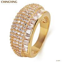 JA-2017G,Wedding rings Sapphire Jewelry 18K gold ring anel Bijou rings for women semi joias 18K gold-plated