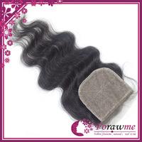 middle side free 3 part silk closure body wave brazilian silk base closures brazillian remy virgin hair 3.5*4 inch forawme