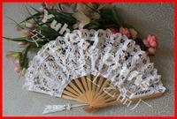 Free shipping 10pcs/lot Battenburg Lace Fan Wedding Hand fan for bride