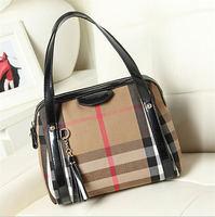 2014 Classic Designer Plaid Women Shoulder Messenger Bag PU Leather Zipper Tote Handbag E0005
