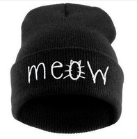 Hot Sale 4color New Beanies MEOW Hats Hip-Hop Cotton Knitted Hat Caps Casual Skullies Hip-hop London Men And Women Free Shipping