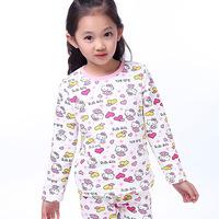 2014 Winter Children's Pajamas Coral Velvet Tracksuit Girls Hello Kitty Cartoon  Thermal Underwear