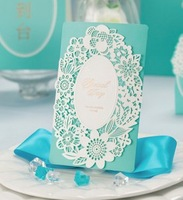 2015Teda CW002 Laser Cut Wishmade Wedding Invitation Cards with Sky Blue Insert white envelope
