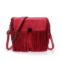 Free shipping Fashion Autumn Winter Stylish Women suede tassel shoulder bag vintage red chain celerity fringe cross body handbag