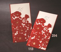 2015Teda CW1014 China Red  Rose Wishmade Best Sale Laser Cut Wedding Invitation Card Sleeves
