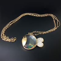 Gold Double chain color crystal glass fish pendant long necklace party birthday gifts