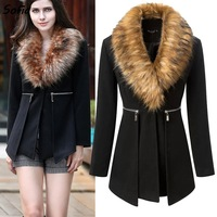 2014 winter women coat fashion woolen casual coats fur collar wool overcoat black slim overcoat SC2060