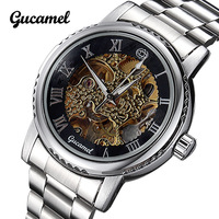 Hot Fashion Brand Gucamel Hollow Mechanical Men Watch Stainless Cover Male Watches Wristwatch Waterproof Free Shipping