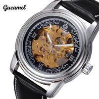 New Gucamel Brand Luxury Watches Fashion Leather Band Men Mechanical Self Wind Skeleton Watch Waterproof Wristwatch