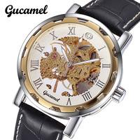 Fashion Brand Gucamel Leather Band Stainless Steel Skeleton Mechanical Men Watch Waterproof Business Male Watch Wristwatch
