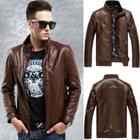 Hot winter leather jacket men 2014 new motorcycle jacket mens leather jackets and coats down-jacket jaqueta de couro masculina
