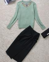 2014 new runway fashion brand beading crystal diamond sweater slim knee length skirts twinset clothing set skirt suits S,M,L,XL