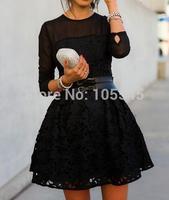 2014 autumn new women lace elegant luxury  sexy mini cocktail party Dress  black without belt