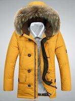 Sale 2014 Winter New Men's Down Jacket Brand Natural Fur Collar Plus Size Thicken Warm Outwear Men Wholesale Down Coat M-3XL