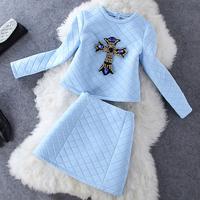 2014 New 2 piece set Skirt Top Rhinestone Pearl Crop Top + Mini Skirt Women Clothes Sets conjunto de blusa e saia para mulher