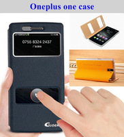 "Open windows Flip leather (PU) case Plus One For Oneplus One 5.5"" Mobile phone protective cover gift a screen protector"