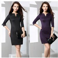 Hot Sale Autumn Of 2014 New Women Backing Seven Point Sleeve V Collar Slim Black Skinny OL Dress Long Sleeve Dress Office Dress