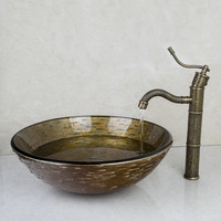Hand-Painted Waterfall Brand Washbasin Lavatory Tempered Glass Sink Bath HS639196006 Combine Brass Faucets,Mixers & Taps