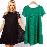 European style sweet kaleidoscope lace short-sleeved dress big swing loose lady dresses
