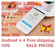 Envío libre original Jiayu G5S + MTK6592 Octa Core 2.0Ghz GPS 2GB RAM 5.0 ' ' 1920x1080 16.0MP doble SIM Android 4.4 teléfono móvil(China (Mainland))