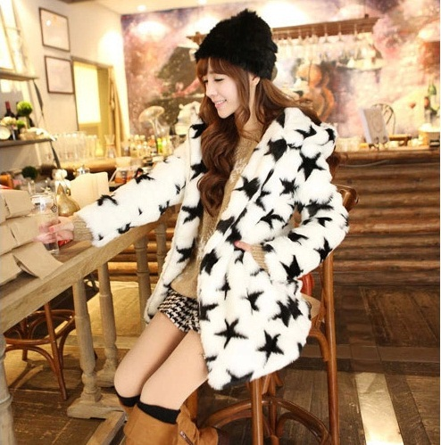Brand New Fashion Women Coat Faux Rabbit Fur Dress Clothing Clothes Winter Autumn Warm Lady Girl Birthday New Year Gift DFF08(China (Mainland))