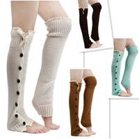 2014 Winter Women Lace Trim Flat Cuffs Boot Socks Crochet Leg Warmers Button Down Knitted Warmers Knee High Boots Socks CX851958