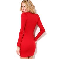 2014 New Arrival Slim Night Club Dress Lady V Neck Sexy Dress Fashion Solid Long Sleeve White Red Mini Dress CX851949