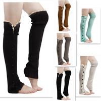 Crochet Christmas Leg Warmer Gaiters Boot Socks Fashion Women Trim Flat Cuffs Button Down Knit Warmers Knee High Socks EJ851958