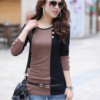 2014 Hot Design Long Sleeve Casual Shirts Women's Autumn Patchwork Shirt Female Block Women Splicing Shirt  EJ851985