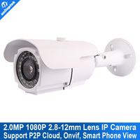 H.264 ONVIF 2.0 Mp 1080p 25fps full HD 2.0Megapixel 2.8-12mm manual vari-focal Zoom lens outdoor Waterproof Network Ip Camera