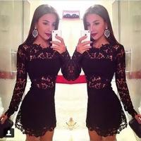 Hot Sale 2014 Winter New Fashion Elegant Long Sleeve Short Black Lace Dresses Sexy Hollow out Women Bodycon Nightclub Dress