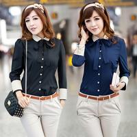 Blusas Femininas 2014 Autumn New Fashion Women Blouses Ladies Casual Long Sleeve Office Work Wear Shirt Black Blue Tops Blouse