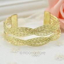 Alloy knitted twisted metal rattan Women wide bracelet woven women cuff bracelets bangles FMHM237#M1