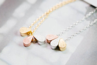 2014 Fashion Lady's Gold silver plated long Necklace Shiny Pendant for Women