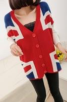 Free shipping Spring and Autumn Korean version of the Union Jack double-big yards bat sleeve cardigan jacket