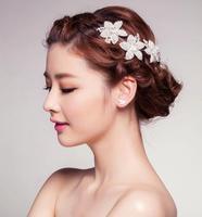 Handmade Bridal Rhinestone Hairband With Pearls Adjustable Crystal Wedding Headband For Bride Hair Accessories Jewelry WIGO0341