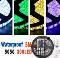 DC 12V 5050 60 LED strip 5M Waterproof 5050 RGB Strip Light + 44 Key IR Controller+ RGB Control Box