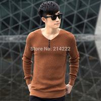 New winter men's 100% Cotton sweater Slim Korean version  urban fashion brand men's pullovers sweater