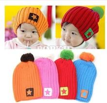 2014 New Unisex Boy & Girl Baby Kids Sweet Five-Star Hat  Children Knitted Warm Hat  Beanie Hat Cute Knitting Head Cap(China (Mainland))