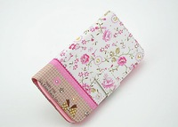 50pcs/lot free shipping Good Floral Rhinestone painted flower leather wallet stand case with TPU inside for LG L70