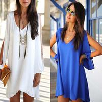5pcs/lot 2014 New Women dress Sexy V-Neck Long loose Casual dress Strapless Chiffon A-line Summer White blue Beach dresses