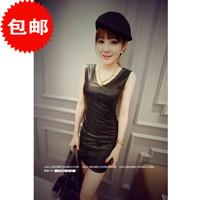 L364B woman sexy pu leather dress black v neck women's sheath party elegant club dress top fashion classic dress