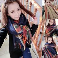 Upscale Korean goods warm cashmere scarf shawl fringed scarf winter new stripe H503