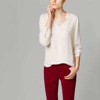 L366B blusas femininas 2014 blouse woman white V-neck cotton shirt casual roupas femininas long sleeve autumn camisas femininas