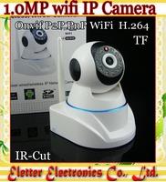 720P H.264 P2P PnP 720P MegaPixel HD Wireless Wifi IP CCTV Camera with Pan/Tilt TF Card Slot and IR Cut Free shipping