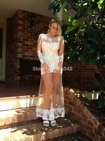 2014 new Fashion sweet long sleeve low back women's lace party dress black white